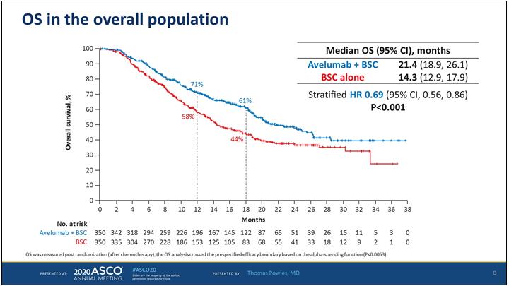 Общая выживаемость пациентов, получавших поддерживающую терапию в исследовании Javelin Bladder 100